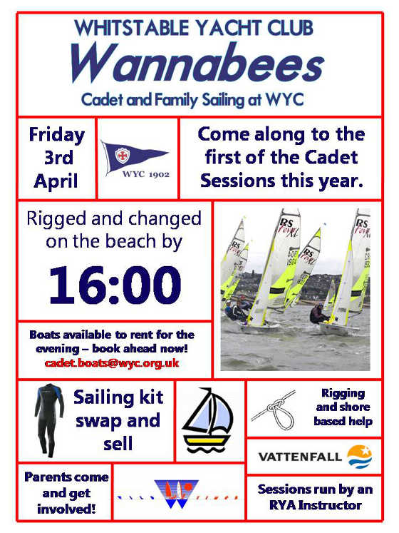 WYC Wannabees Sailing Session, 3rd April at 4pm
