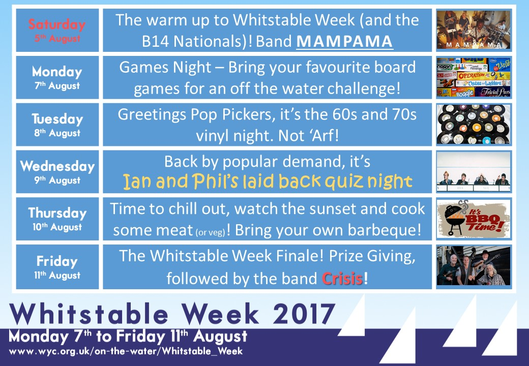 Whitstable Week Social Schedule